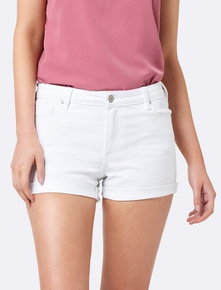 Forever New Coco Mid Rise Denim Shorts - White - 16