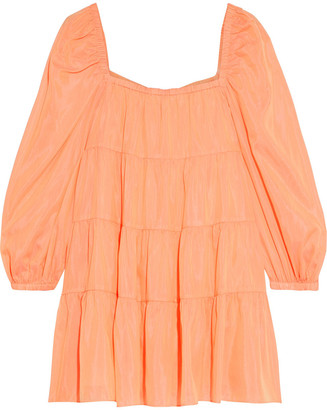 Alice + Olivia Rowen Tiered Cotton And Silk-blend Voile Mini Dress