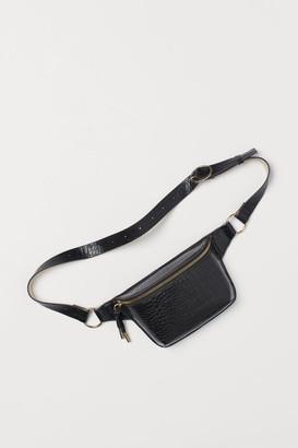 H&M Crocodile-patterned Belt Bag - Black
