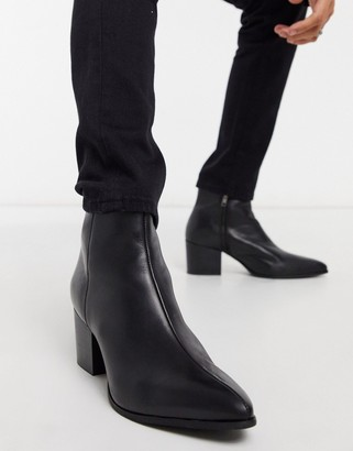 ASOS DESIGN heeled chelsea boots with pointed toe in black leather with black sole