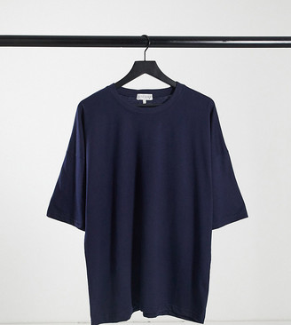 In The Style Plus x Siannise Fudge oversized t-shirt in navy