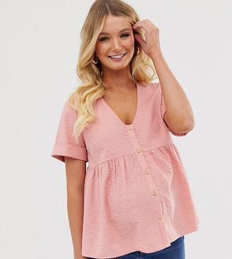 Asos DESIGN Maternity button through smock in seersucker sun top-Pink