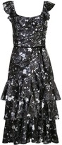 Marchesa floral print tiered dress