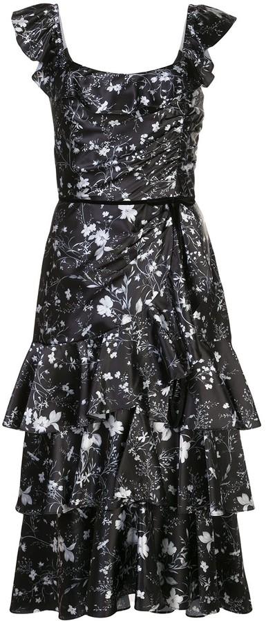 Marchesa Notte Floral Print Tiered Dress