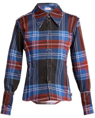 Charles Jeffrey Loverboy Teddy Tartan Cotton Shirt - Womens - Blue Multi