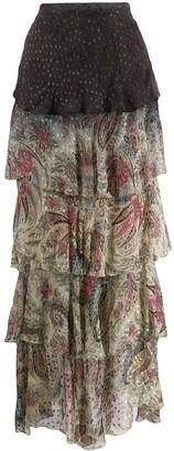 Etro ruffled maxi skirt