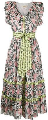 Temperley London Reed print ruffle dress