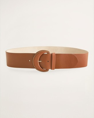 Chico's Leather Belt with Beaded Buckle