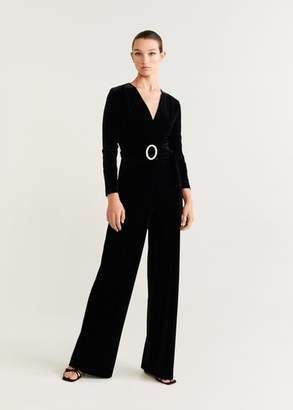MANGO Velvet long jumpsuit black - XXS-XS - Women