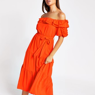 River Island Womens Orange short sleeve bardot frill midi dress