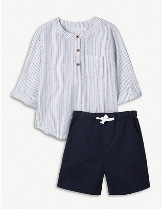 The Little White Company Striped cotton and linen-blend shirt and shorts set 1-6 years