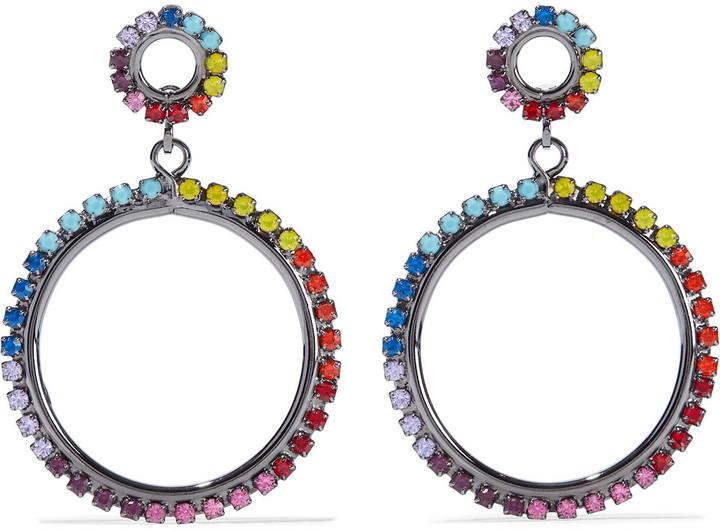 Elizabeth Cole Kinsley Hematite-plated Crystal Hoop Earrings