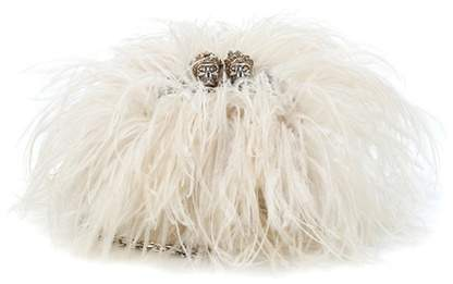 Alexander McQueen Ostrich feather and leather clutch