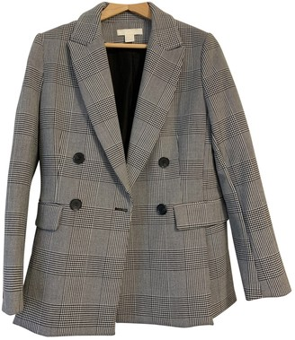 MANGO Grey Wool Jacket for Women