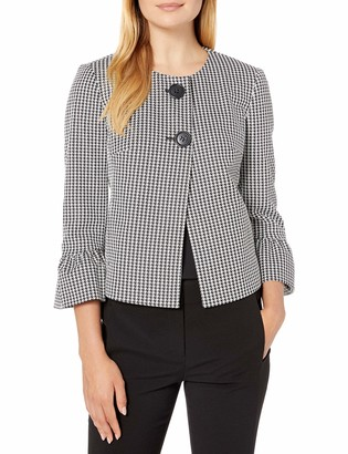 Nine West Women's Houndstooth 2 Button Bell Sleeve Jacket