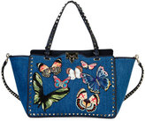Valentino Butterfly Rockstud Denim Tote Bag