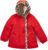 KC Collections Red Heart-Button Fleece Jacket - Girls