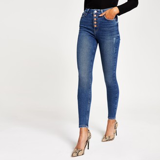 River Island Womens Blue button Hailey high rise skinny jeans