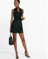 Express sleeveless belted military shirt dress