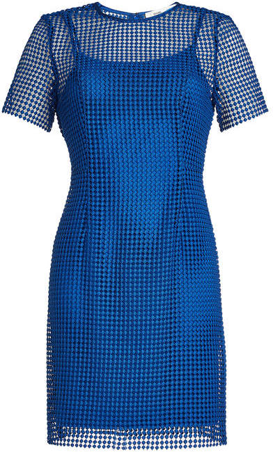 Diane von Furstenberg Dress with Mesh Overlay