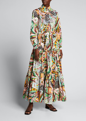 La DoubleJ Bellini Printed Cotton Poplin Maxi Shirtdress