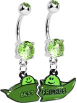 Body Candy Two Peas in a Pod Best Friends Belly Ring Set