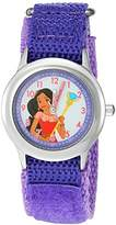 Disney Girl's 'Elena of Avalor' Quartz Stainless Steel and Nylon Watch, Color:Purple (Model: W003035)