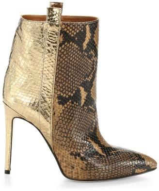 Paris Texas Metallic Snakeskin-Print Leather Stiletto Booties