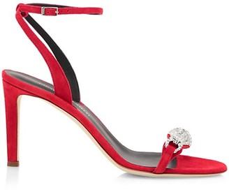 Giuseppe Zanotti Swarovski Crystal Buckle Suede Sandals