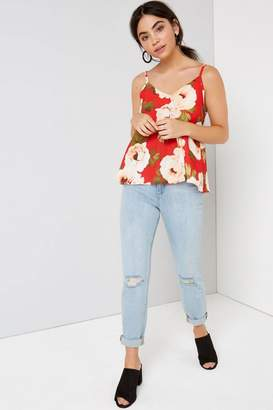 Girls On Film Outlet Red Floral Cami