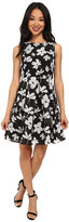 Yumi Large Scale Floral Check Print Dress w/ Special Back Detail