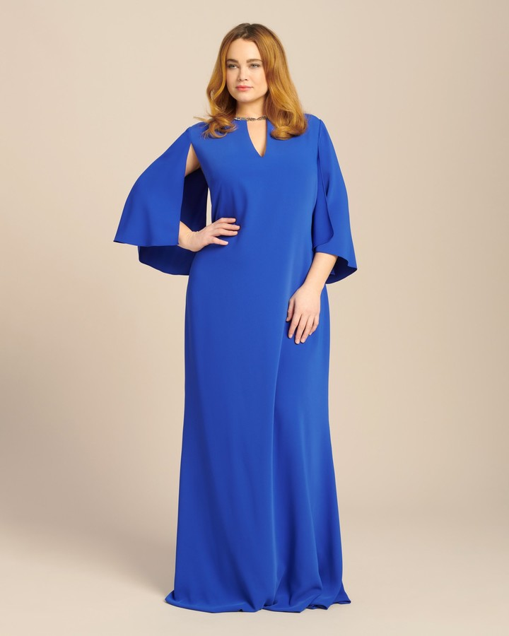Reem Acra Flutter Sleeve Crepe Gown