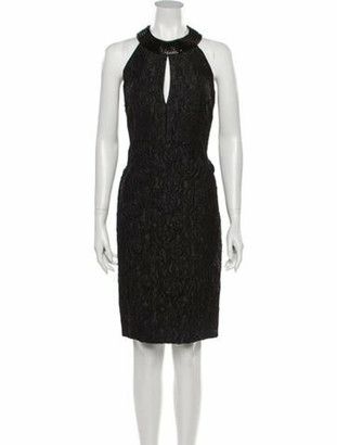 Akris Lace Pattern Knee-Length Dress Black