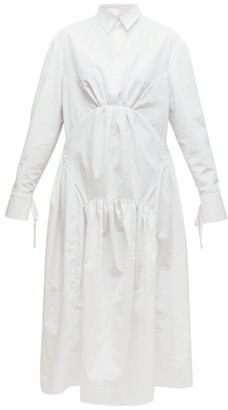 Cecilie Bahnsen Thea Gathered Cotton Poplin Shirtdress - White
