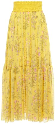 Giambattista Valli Floral Printed Silk Georgette Maxi Skirt