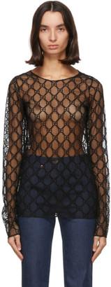Gucci Black Mesh GG Long Sleeve T-Shirt