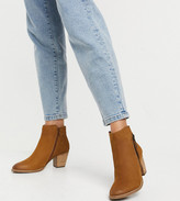 Thumbnail for your product : Dune wide fit side zip western heeled ankle boots in tan suede