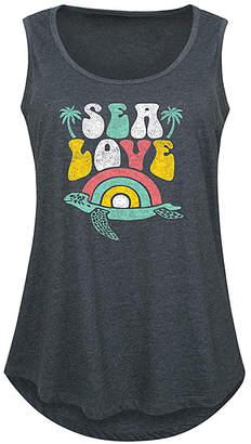 Instant Message Plus Women's Tank Tops HEATHER - Heather Charcoal 'Sea Love' Tank - Plus