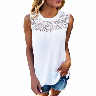 Momoxi 2019 Popular Explosion Ladies Casual Lace Sleeveless O-Neck Crop Top Vest Tank Shirt Summer Newest Blouse Cami Top Soft Comfortable Plus Size Elegant Sexy Cheap Discount White