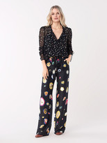 Diane von Furstenberg Lilian Metallic Dot Sheer Top