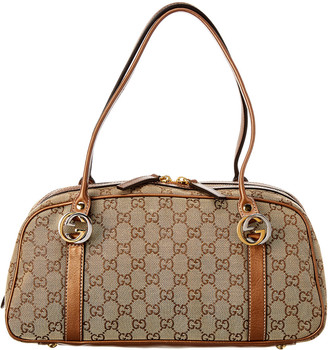Gucci Brown Gg Canvas & Leather Boston Bag