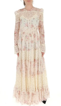 Philosophy di Lorenzo Serafini Floral Lace Long-Sleeve Maxi Dress