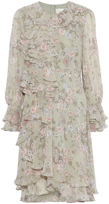 Mikael Aghal Ruffled Floral-print Chiffon Dress