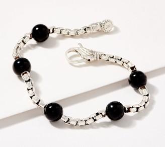 JAI Sterling Silver Gemstone Bead 3.7mm Box Chain Bracelet