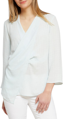 Nic+Zoe Grid-Patterned Drape-Front Top