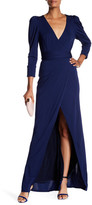 ABS by Allen Schwartz Puff Shoulder Wrap Gown