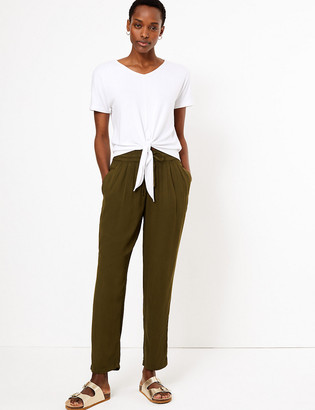 Marks and Spencer Soft Drawstring Tapered Trousers