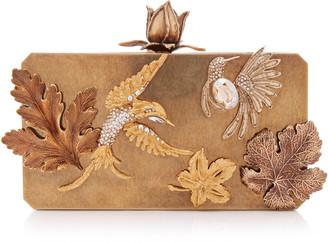 Oscar de la Renta Crystal Love Birds Embellished Metal Clutch