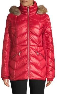 MICHAEL Michael Kors Faux Fur Tim Quilted Down Jacket