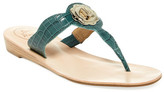 Jack Rogers Lilah Croc Embossed Thong Wedge Sandal